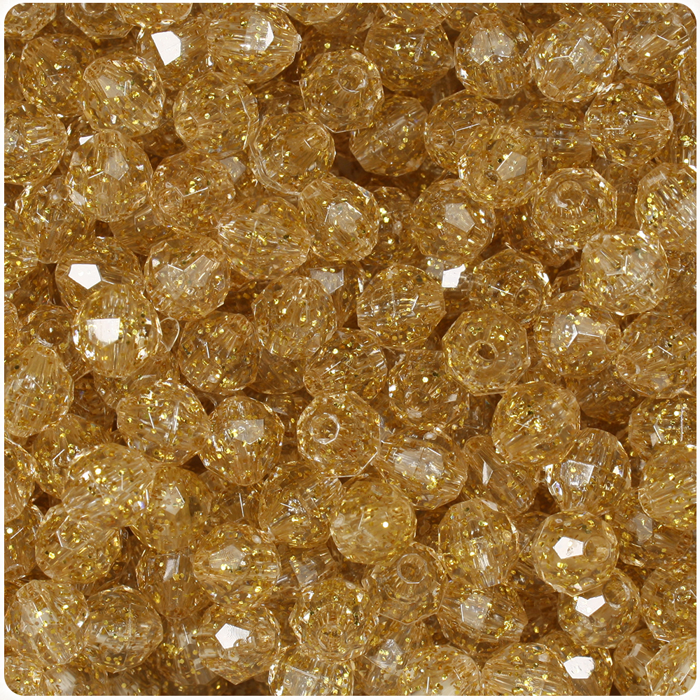 BeadTin Gold Sparkle 8mm Faceted Round Craft Beads (450pcs)