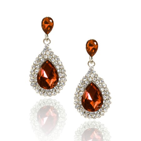 Ladies Elegant Waterdrop Rhinestone Dangle Hook Earring Ear Stud Champagne