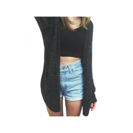 VICOODA Women Open Front Long Sleeve Loose Jacket Coat Top Black Knit Cardigan Sweater with Pocket