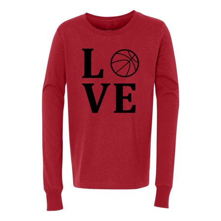 Love Basketball Sports Jersey Youth Long Sleeve (Best Red Basketball Jersey)