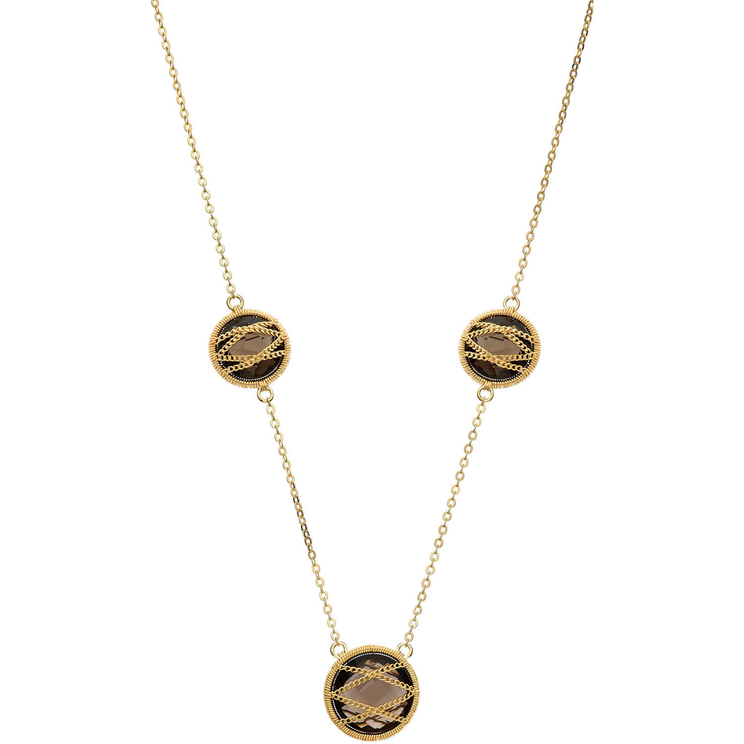 Image of 5th & Main 18kt Gold over Sterling Silver Hand-Wrapped Triple Round Smokey Quartz Stone Necklace