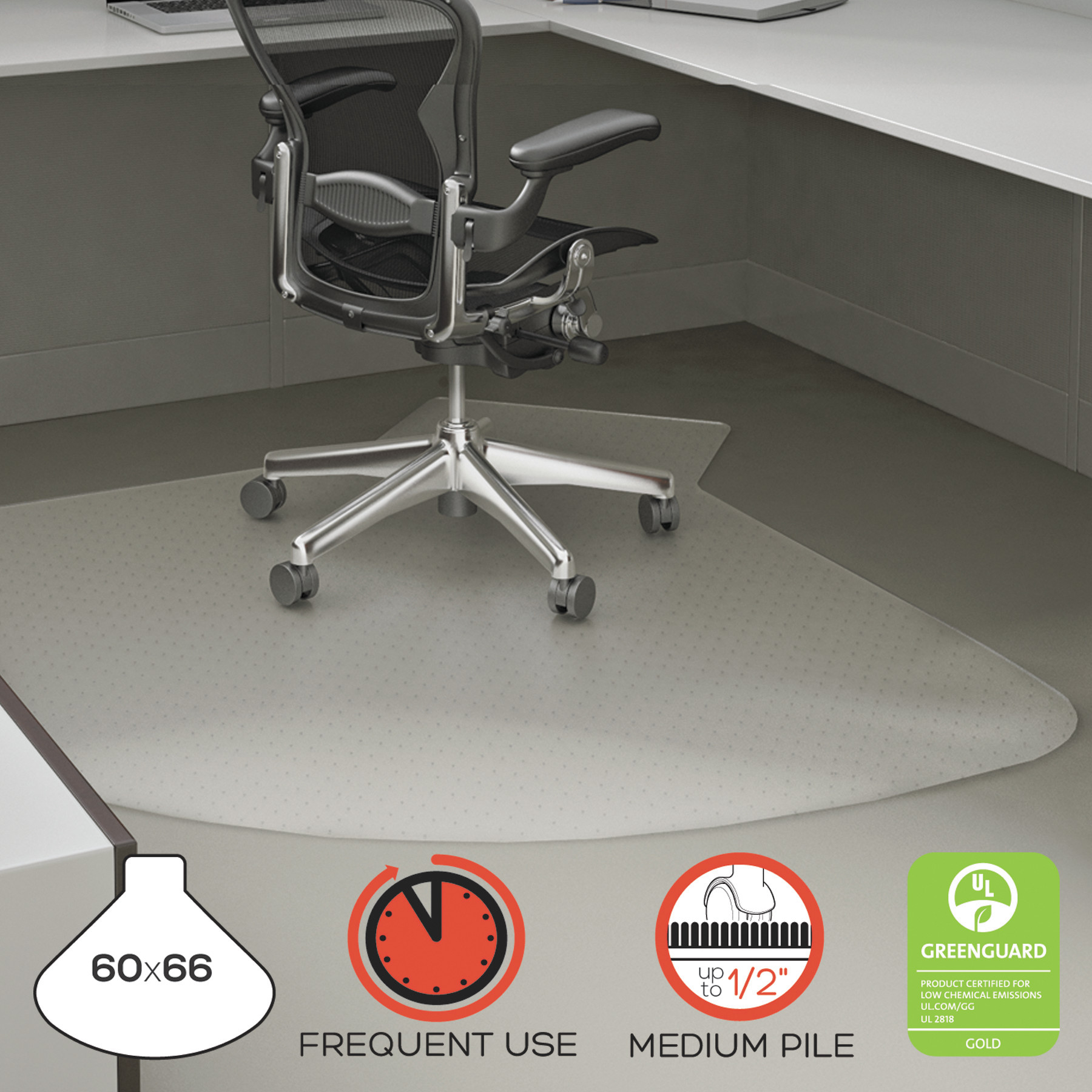 """deflecto SuperMat Frequent Use Chair Mat, 60"""" x 66"""", Medium Pile, Clear"""