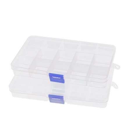 Unique Bargains Clear Plastic 15 Slots Components Jewelry Craft Organizer Storage Case Box 2 Pcs - Plastic Crafts