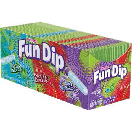 Fun Dip Grape Yumptious Dip, Razz Apple Magic Dip & Cherry Yum Diddly Dip Sour Candy Variety Pack, 1.4oz (Box of 24)