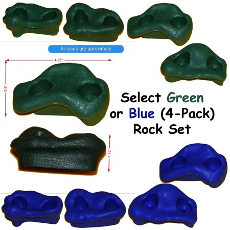 Playkids Rock Pegs for Rock wall on swingset, Playst, Jungle Gym, Backyard climbing rock climber on rock hold Molded Small Rock set of 4 for younger Toddlers and kids