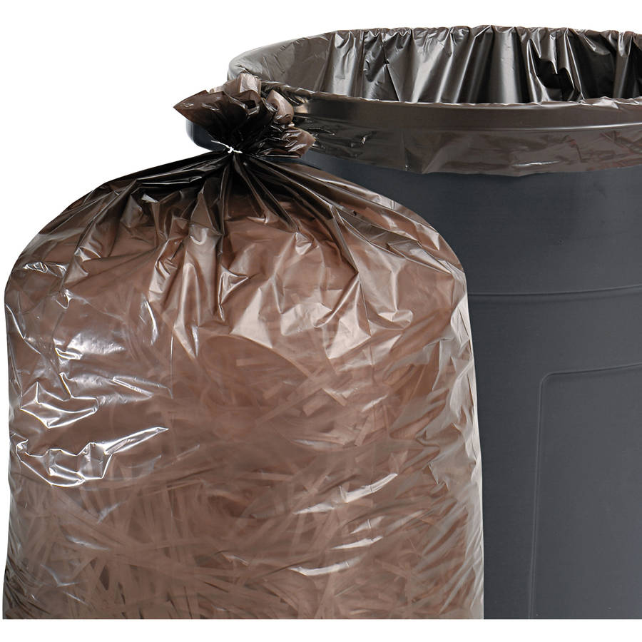 Stout Total Recycled Content Brown Trash Bags, 60 gal, 100 ct