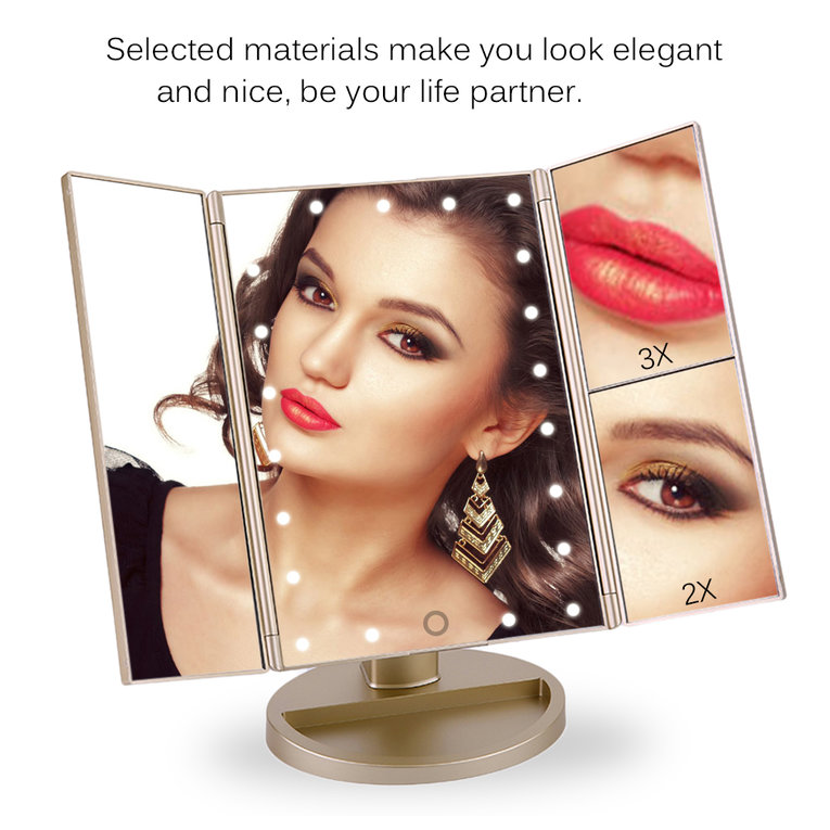Gold 21 Led Lights Touch Screen 3X Makeup Mirror Cosmetic Tabletop Vanity Mirror