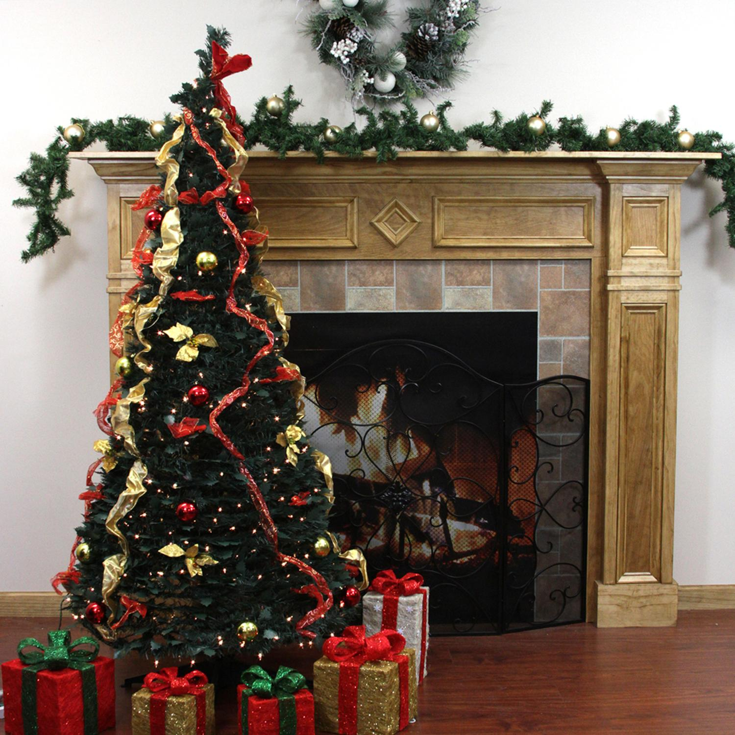 6' Pre-Lit Pop Up Decorated Red/Gold Artificial Christmas Tree - Clear Lights - Walmart.com