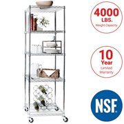 """seville classics ultradurable commercial-grade 5-tier nsf-certified steel wire shelving with wheels, 24"""" w x 18"""" d, chrome"""