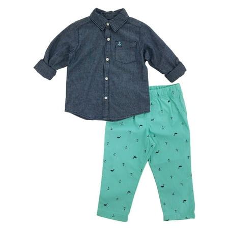 43bedcf5b Carters Infant Boys 2-Piece Chambray Shirt & Printed Pants Set - Walmart.com