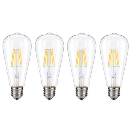 Dimmable Edison LED Bulb, Kohree 6W Vintage LED Filament Light Bulb, 60W Incandescent Equivalent, E26 Medium Base 4 (Base Red Incandescent Light Bulb)