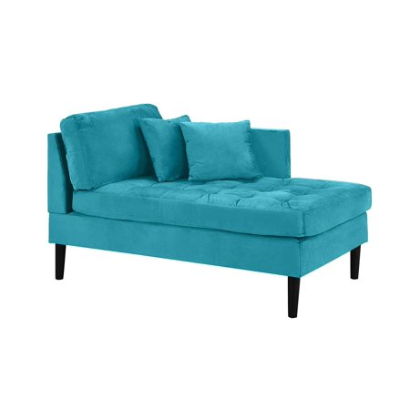 Leopard Chaise Lounge - Mid Century Modern Tufted Velvet Chaise Lounge (Blue)