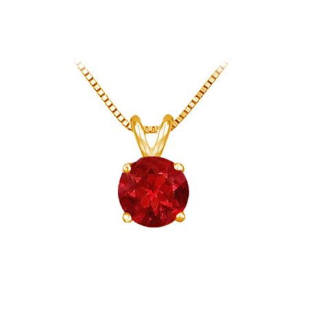14K Yellow Gold Prong Set Natural Ruby Solitaire Pendant 1 CT TGW Gold 0.05 Ct Natural