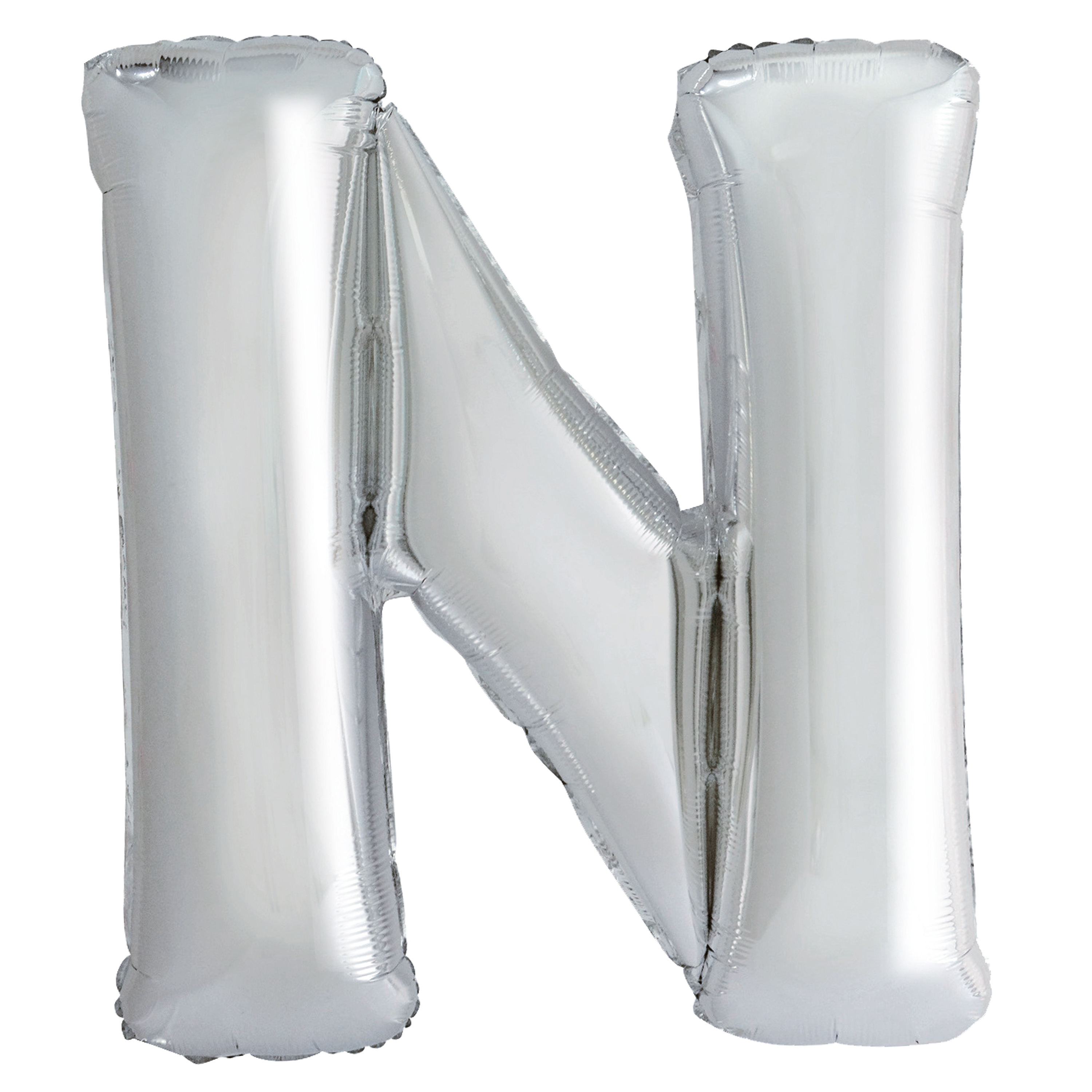 Foil Big Letter Balloon, N, 34 in, Silver, 1ct