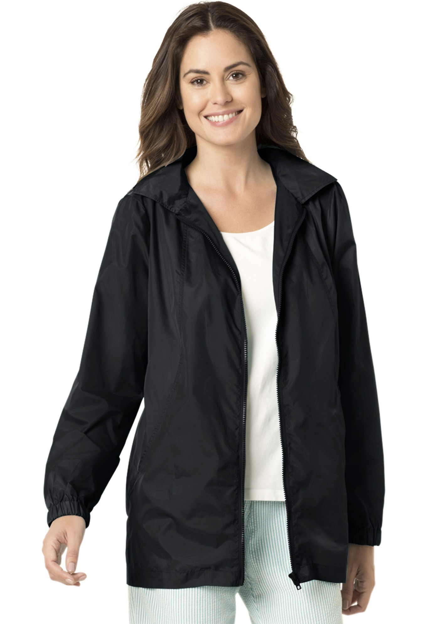 Woman Within Plus Size Zip Front Nylon Jacket