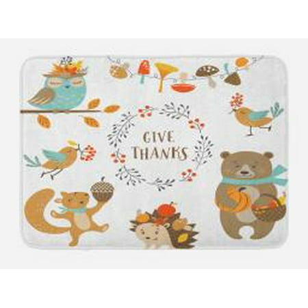 Kids Thanksgiving Bath Mat Giving Thanks Being Grateful Cartoon Animals Grizzly Bear Wild Mushrooms Non Slip Plush Mat Bathroom Kitchen Laundry Room