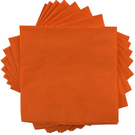 JAM Paper Medium Lunch Napkins - 6 1/2 x 6 1/2 - Orange - 50/Pack