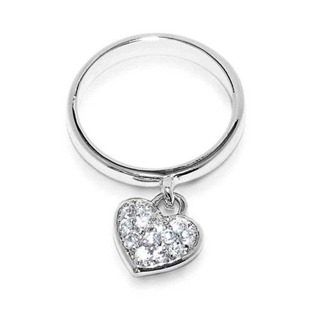 925 Sterling Silver Pave Dangle Heart Charm Ring  For Teen For Girlfriend !mm Thin Band