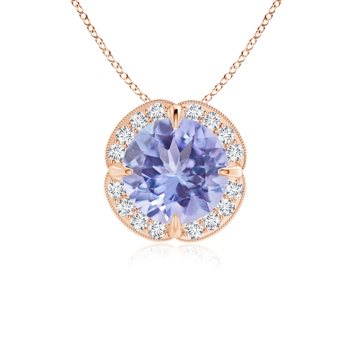 December Birthstone Pendant Necklaces Claw Set Tanzanite Clover Necklace Pendant with Diamond Halo in 14K Rose Gold (7mm... by Angara.com