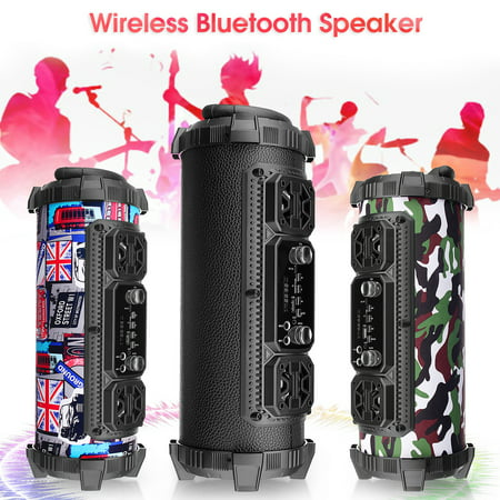 360 ° Surround Sound FM Portable bluetooth Speaker Vertical Design Wireless Stereo Loud Super Bass Sound Aux/USB/TF Best Christmas (Best In Ceiling Speakers For Surround Sound)