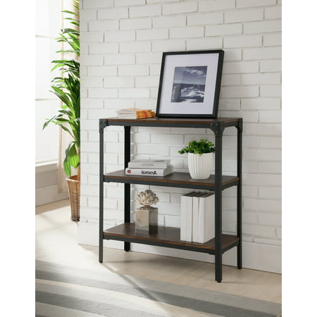 Three Tier Wood (Catalina Walnut Wood & Black Metal Frame Industrial Style 3 Tier Shelf Storage Bookcase Home & Office Organizer Display Unit )