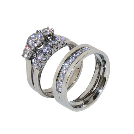 His Hers 3 PCS Stainless Steel 3 Stone Wedding Ring Set Mens 9 CZ Band- Size W5M7 (Mens Stone Set)