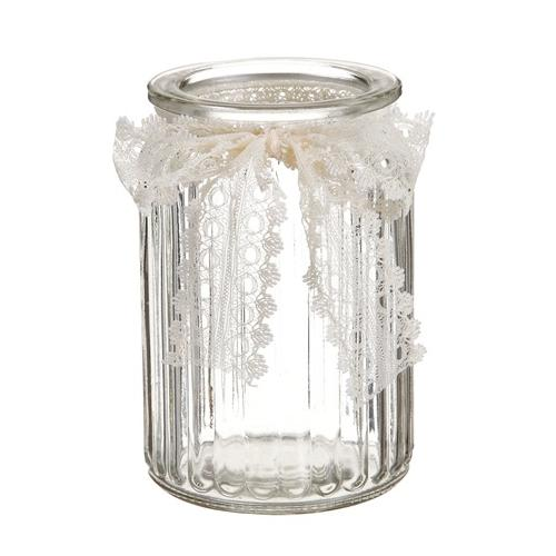 """5.75"""" Decorative Clear Ribbed Glass Spring Floral Vase with Lace Ribbon"""