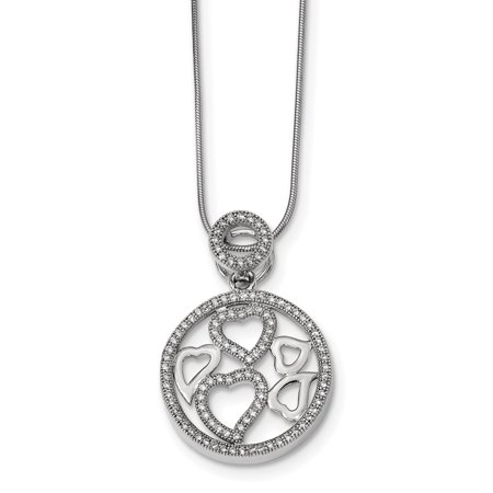 Sterling Silver & CZ Brilliant Embers Polished Heart Necklace 18 Inch - image 3 de 3