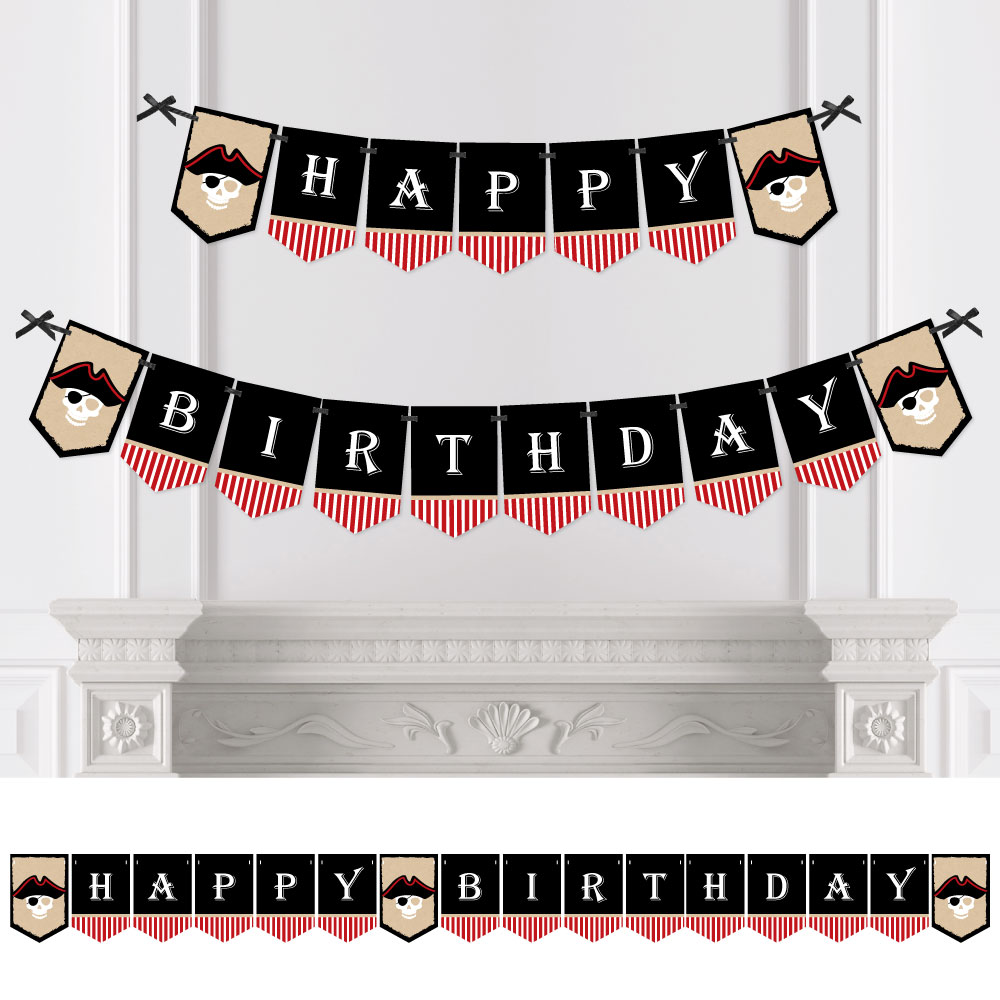 Beware of Pirates - Pirate Birthday Party Bunting Banner - Pirate Party Decorations - Happy Birthday