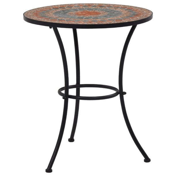 "Bistro Table Orange/Gray 23.6"" Ceramic"