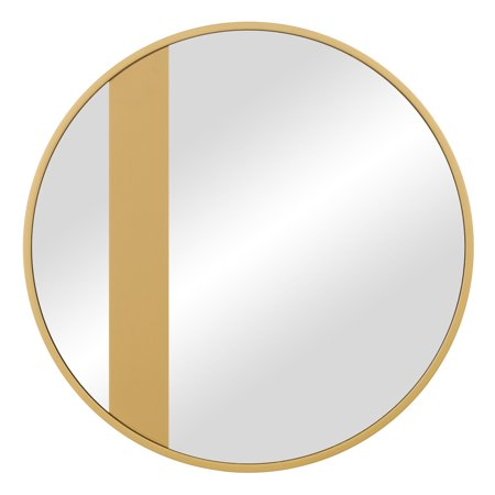 Gold Trim and Band Modern Round Wall Mirror 22