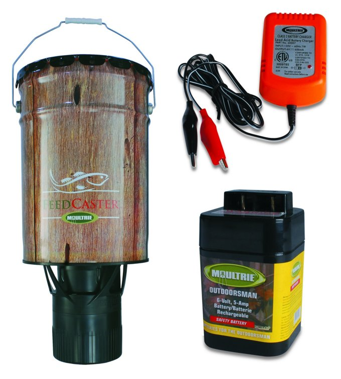 Moultrie 6 Gallon Automatic Pond Fish Feeder + 6V Recharg...