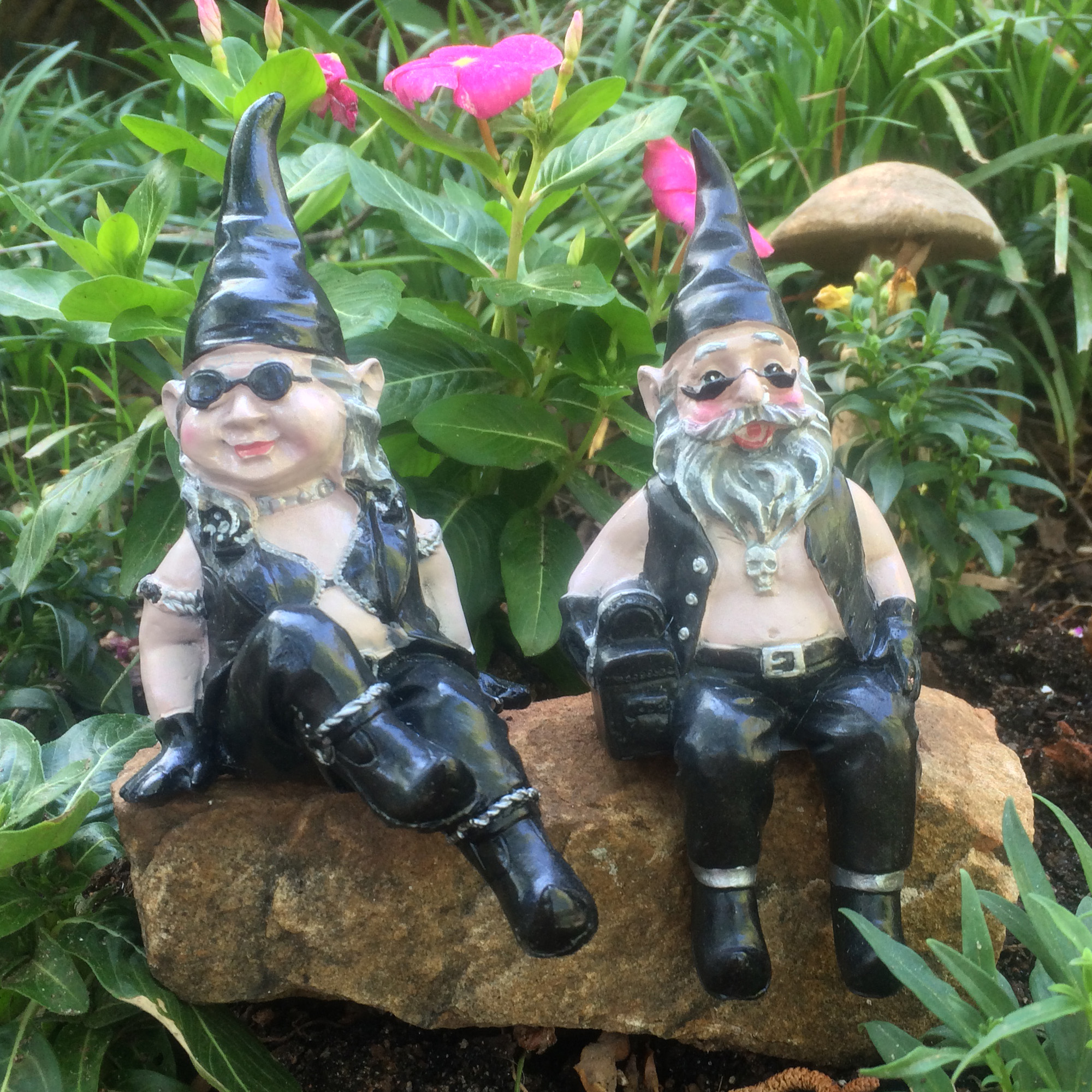 """Homestyles Nowaday Gnomes Biker Gnomes """"Biker & Babe the Gnome"""" Garden Gnome... by"""