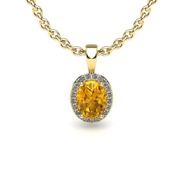 3 4 Carat Oval Shape Citrine and Halo Diamond Necklace In 14 Karat Yellow Gold With 18 Inch Chain by SuperJeweler