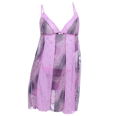 S/M Fit Multicoloured Floral Embroidered & Dot Pattern Panel Negligee (Floral Patterns Embroidery)