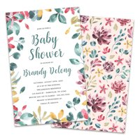 Personalized Floral and Foliage Baby Shower Invitations