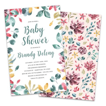 Christmas Baby Shower Invitations (Personalized Floral and Foliage Baby Shower)