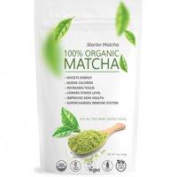 Starter Matcha (12oz) - USDA Organic, Kosher & Non-GMO Certified, Vegan and Gluten-Free. Pure Matcha Green Tea Powder. Natural Energy Booster and Fat Burner