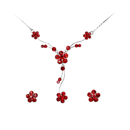 (Faship Gorgeous Rhinestone Crystal Floral Necklace Earrings Set)