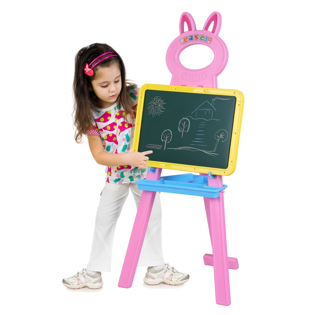 Writing Board for Kids Handwriting Board writing board for toddler, Floor Stand Rack Bracket Educational Toy + Eraser + Letter and Number Magnets + Chalk,Pink Rabbit