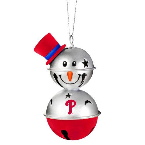 Philadelphia Phillies Two-Tier Snowman Bell Ornament