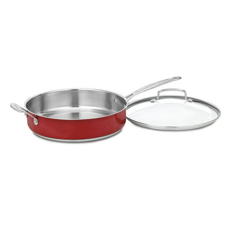 All Clad Stainless Steel Chefs Pan (Cuisinart Chef'S Classic Stainless Steel 5.0 Qt. Sauté Pan W/Helper Handle & Cover - Metallic Red )