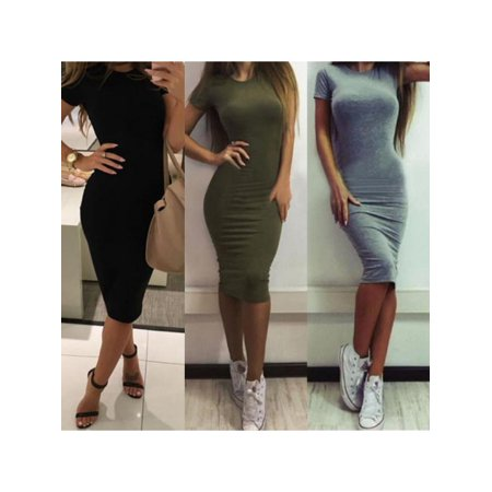 Topumt Short Sleeve Scoop Neck Stretch Jersey Bodycon Pencil Midi Tank Dress
