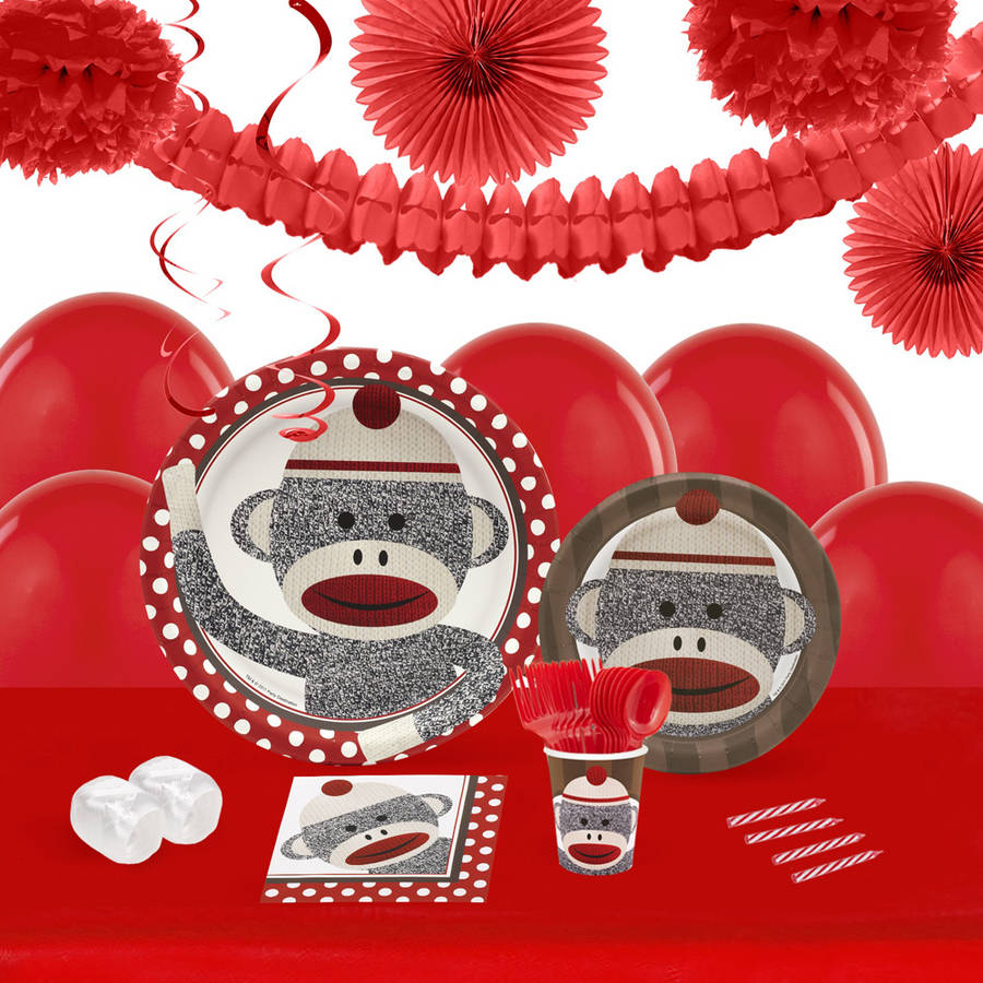 Sock Monkey Red 16-Guest Tableware and Decoration Kit