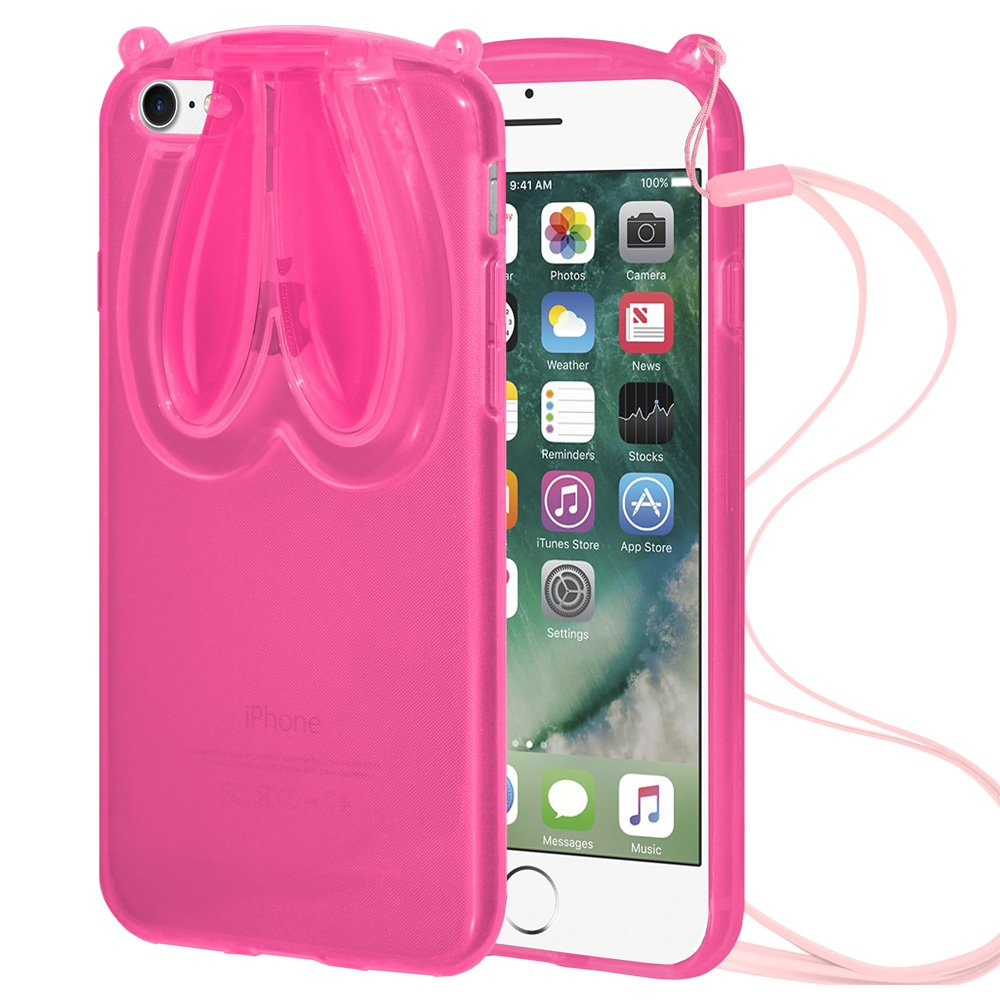 Designer Bunny Rabbit Ears TPU Case with Lanyard for Apple iPhone 7 - Pink