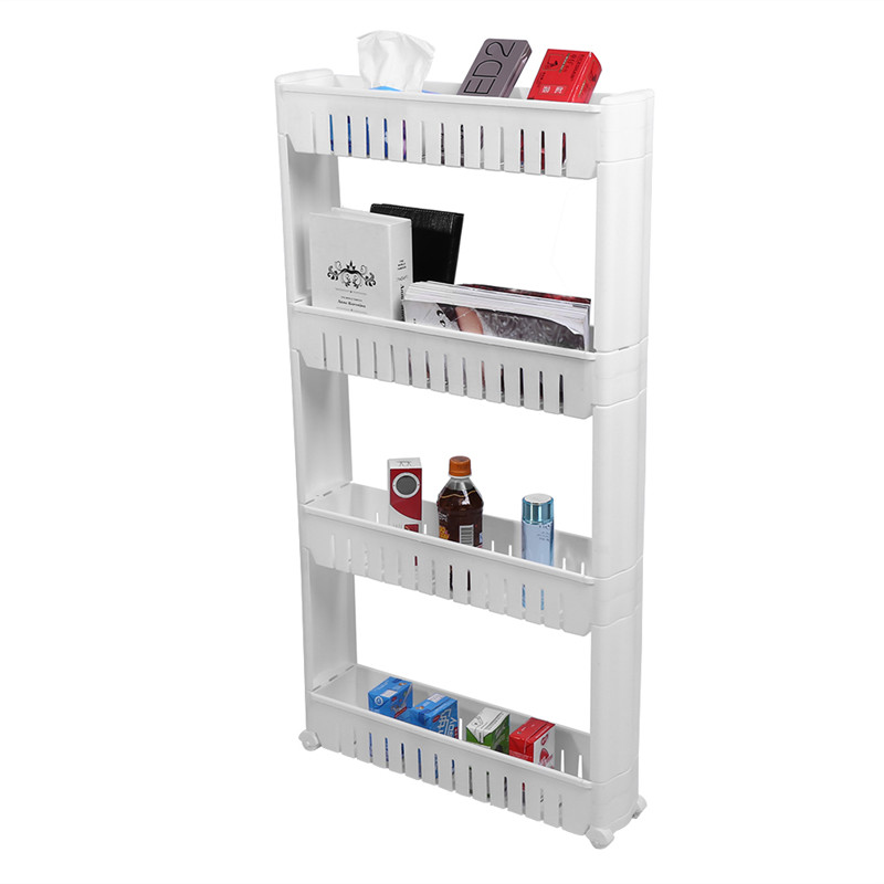 bathroom and kitchen slim storage organizer with wheels slide out Narrow Space Storage