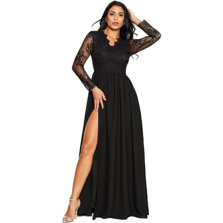 Womens Lace Slit Long Sleeve Prom Gown Maxi Dress