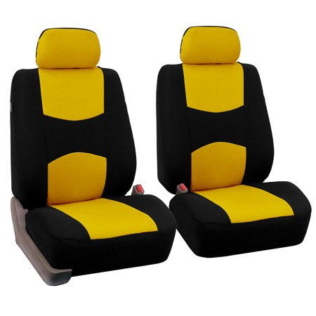 Yellow Seat (FH Group Universal Flat Cloth Pair Bucket Seat Cover, Yellow and)