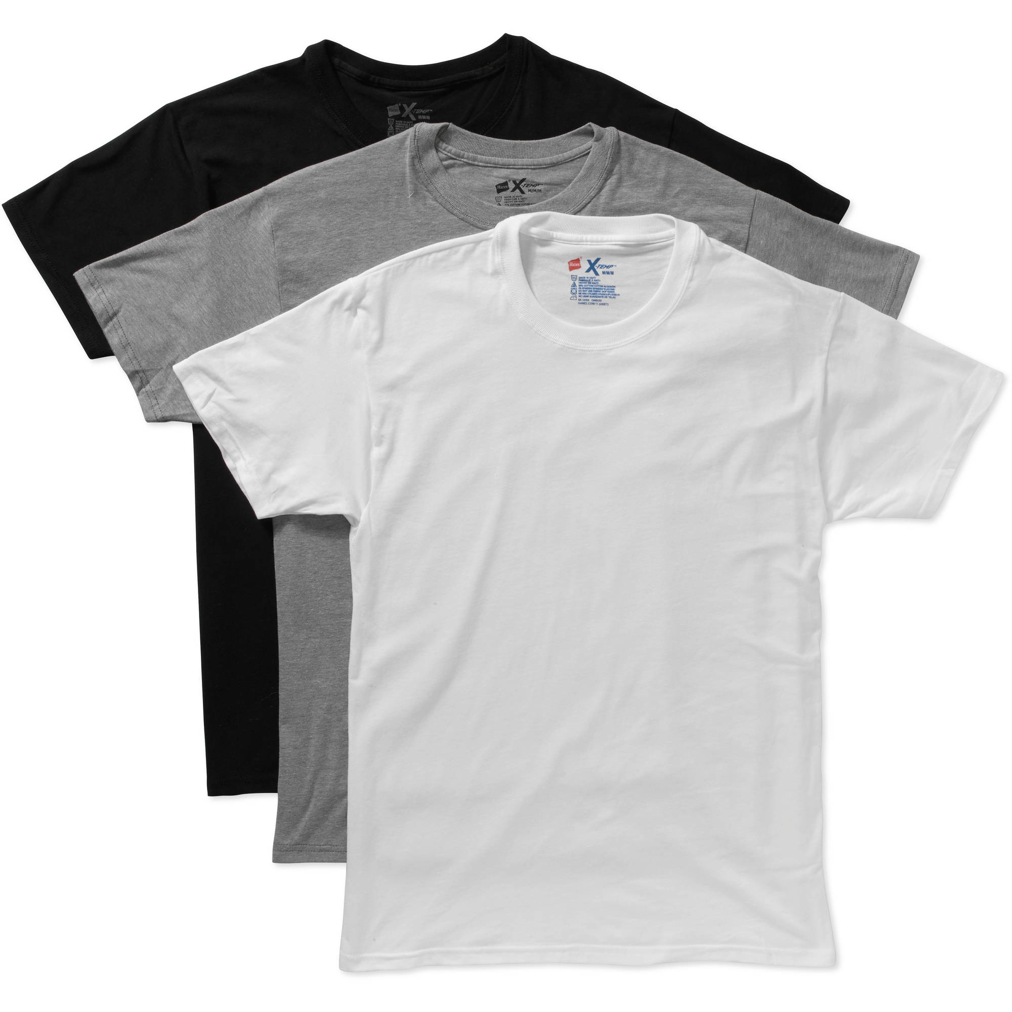 Hanes Men's X-Temp Cotton Stretch Dyed Crew T-Shirts - 3 Pack ...
