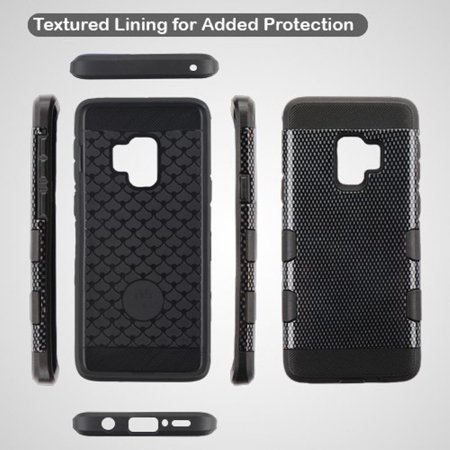 Samsung Galaxy S9 Case, by Insten Tuff Trooper Carbon Fiber Dual Layer [Shock Absorbing] Hybrid Hard Plastic/Soft TPU Rubber Case Cover For Samsung Galaxy S9, Black - image 2 of 5